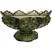 Fenton Colonial Green Hobnail Candle Bowl