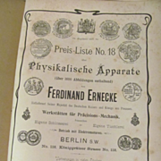 Early Ferdinand Ernecke #18 Scientific Instruments Catalog, Price List, German