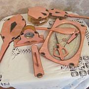 Art Deco Celluloid Vanity Set, Clock, Rhinestones