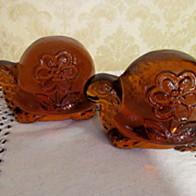 Amber Solid Glass Turtle, Flower Power Bookends