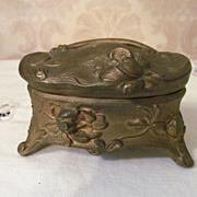 Art Nouveau Metal Vanity Trinket, Jewelry Box