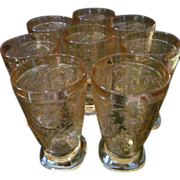 8 Floragold Louisa 10oz Tumblers by Jeanette Glass Company
