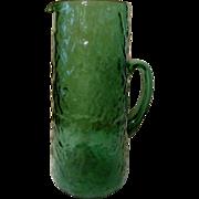 "Morgantown Emerald Green 11"" Crinkle Winkle Pitcher"