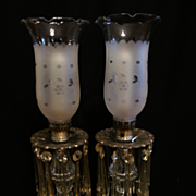 Pair of Glass Vanity, Boudoir Table Lamps with Prisms, Rewired