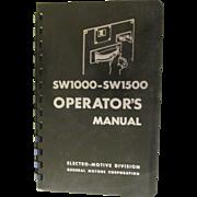 SOLD 1969 EMD Diesel Locomotive SW1000-SW1500 Operators Manual, General Motors