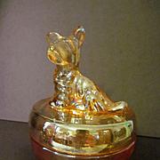 SOLD Jeannette Marigold Iridescent Scottie Terrier Dog Powder Box Jar