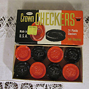 SOLD Crown Plastic Stackable Checkers by Whitman with Box #4413