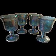 4  Indiana Blue Carnival Harvest Goblets