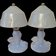 Blue Depression Era Squirrel Vanity Lamps, Rewired