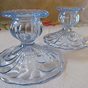 Pair Cambridge Moonlight Blue Candle Holders