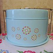Mid Century Retro Turquoise Blue Metal Pie Cake Server Carrier