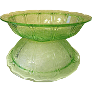 Cherry Blossom Green Depression Vegetable & Berry Bowl, Jeannette Glass Company