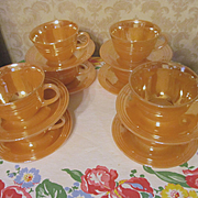 8 Fire King Peach Luster 3 Ring Cups & Saucers by Anchor Hocking