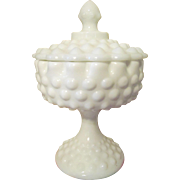 Fenton Hobnail Milk Glass Covered Candy Jar Dish #3885