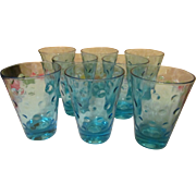 8 Capri Azure Blue Dots Juice Barware Tumblers, Hazel Atlas