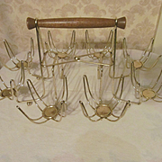 Mid Century Glass Caddy Carrier for 8 Roly Poly Tumblers