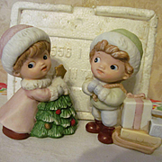 Homco Christmas Boy & Girl #5556 with Box