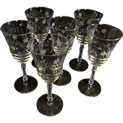 Libbey Halifax Rock Crystal Tall Stem Wheel Cut Goblets