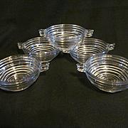 5 Manhattan Depression Era Handled Bowls, Anchor Hocking