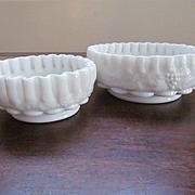 Pair Westmoreland Paneled Grape Crimped Bowls