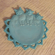 Westmoreland Kitten Cat Blue Milk Glass Plate