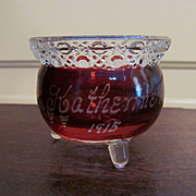 SOLD Souvenir Ruby Stained Kettle Toothpick Holder, 1915 Katherine