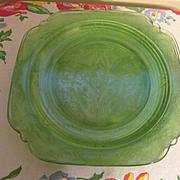 "Six Green Madrid 9"" Depression Plates by Federal"