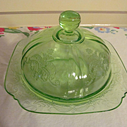 Green Depression Madrid Butter Dish by Federal