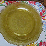 "Four Patrician Spoke 11"" Depression Dinner Plates by Federal Glass"