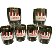 Six Hamm's Beer Barrel Glasses with Red Trees, From the Land of Sky Blue ...