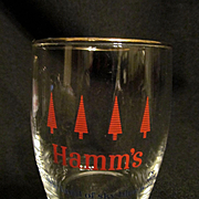 Unique Hamm's Beer Barrel Glass with Red Trees, From the Land of Sky Blue Waters