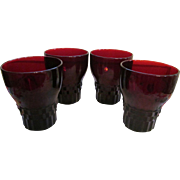 """Four Ruby Red Hocking Windsor 4"""" Tumblers + Another Set of 4"""