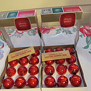SOLD Shiny Brite Miniature Red Mercury Bulbs with Hangers and Boxes