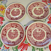 "Four Adams Staffordshire England English Scene 8"" Mulberry Plates"