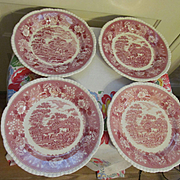 Four Adams Staffordshire England English Scene Mulberry Dinner Plates
