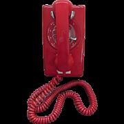 Red Northern Telecom Rotary Wall Telephone Phone