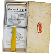 Yellow Bakelite Schmeider Cheese, Egg, Butter Slicer with brochure & Box