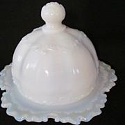 EAPG Versailles Opaque Milk Glass Butter Dish, Dithridge Glass Co