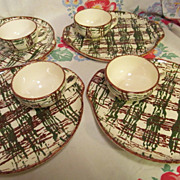 SOLD Blue Ridge Scatter Plaid 8pc Snack Set