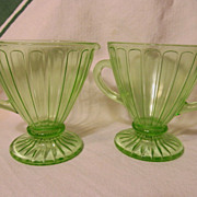 Hazel Atlas Ribbon Green Depression Creamer Sugar