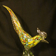 """SOLD Fantastic Murano 14"""" Bird,Gold/Multicolored"""