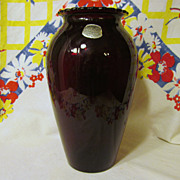 "Royal Ruby  9"" Vase with Label, Anchor Hocking"