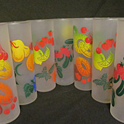 Federal Frosted Fruit Drink Tumblers