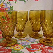 4 Amber Georgian Goblets + 4 More
