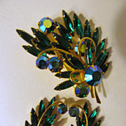SOLD Dazzling Weiss Rhinestone Brooch,Earring Set, Emerald Green, Aurora Borealis