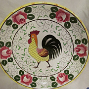 PY Ucagco Rooster & Roses Dinner Plate