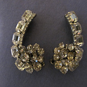 Amazing Large Crystal Rhinestone Clip Earrings