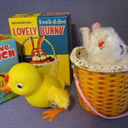 2 Wind Up Toys, Hopping Chick, Mechanical Peek-A-Boo Lovely Bunny