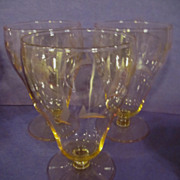 3 Canary Yellow Goblets, Wheel Etched