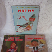 3 1967 Living Story Books ,Peter Pan, Red Riding Hood,Tom Thumb